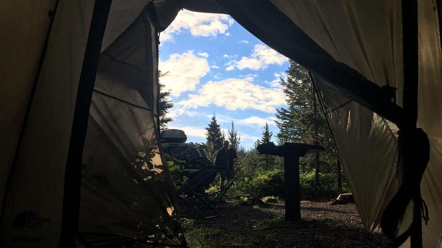 Waking up on Saturday morning near McCall, Idaho for a mountain biking trip with the family.