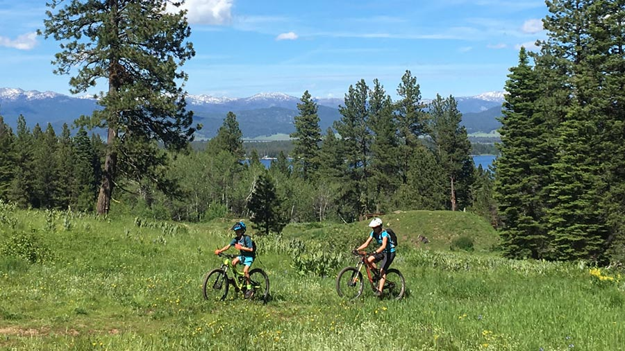 Mountain biking with kids at Tamarack Resort, Idaho