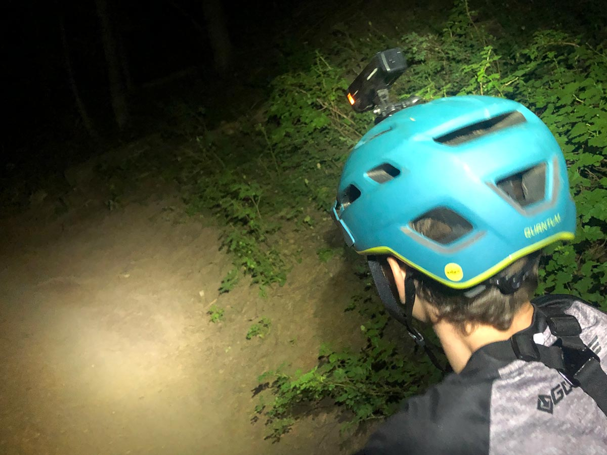 Bontrager Ion light mounted to Bontrager Rally MIPS helmet