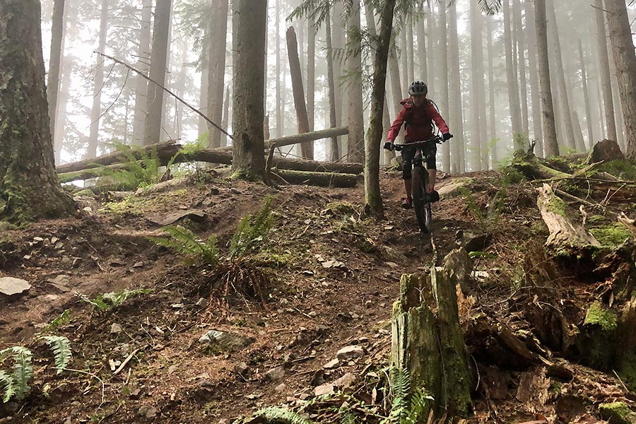 Mom rides Brown Pow - a Bellingham fave