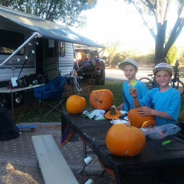 Carving pumpkins at the Virgin, Utah RV park