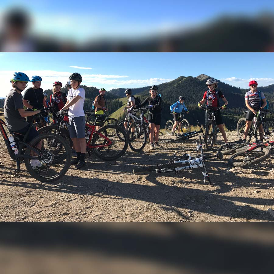 Some of the East High School mountain bike team at the top of Puke Hill. This is part of the Wasatch Crest Trail.