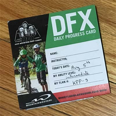 Whistler DFX Daily Progress Card