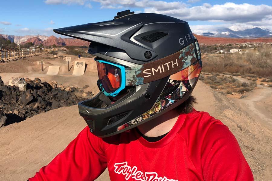 Goggles and the Giro Disciple mountain bike helmet