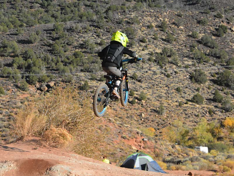 Young mountain biker at the old Red Bull Rampage site