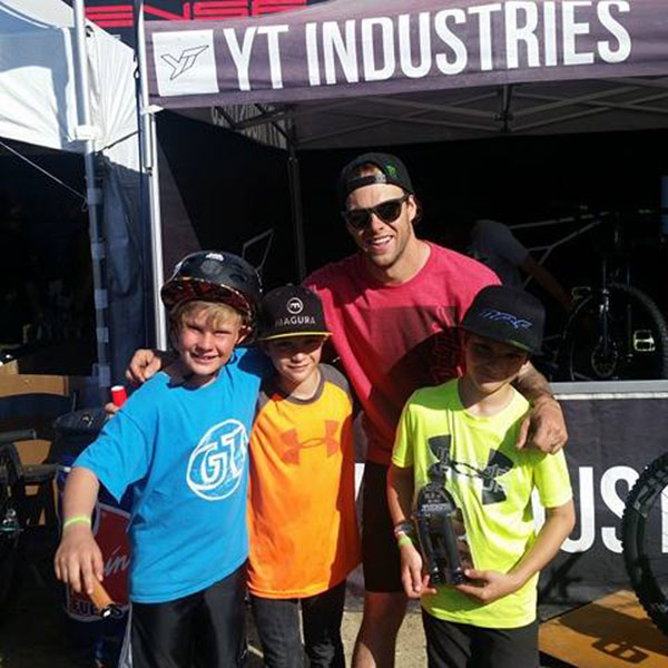 Cam Zink taking time for a groupie photo at the Sea Otter Classic