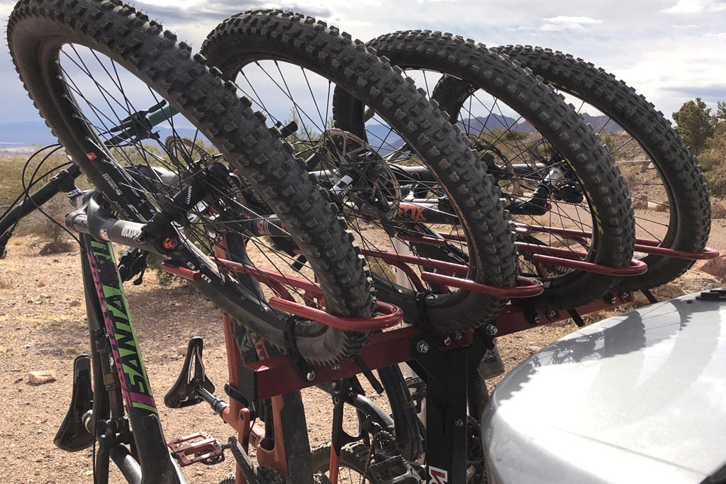 Top half of a loaded Velocirax bike rack