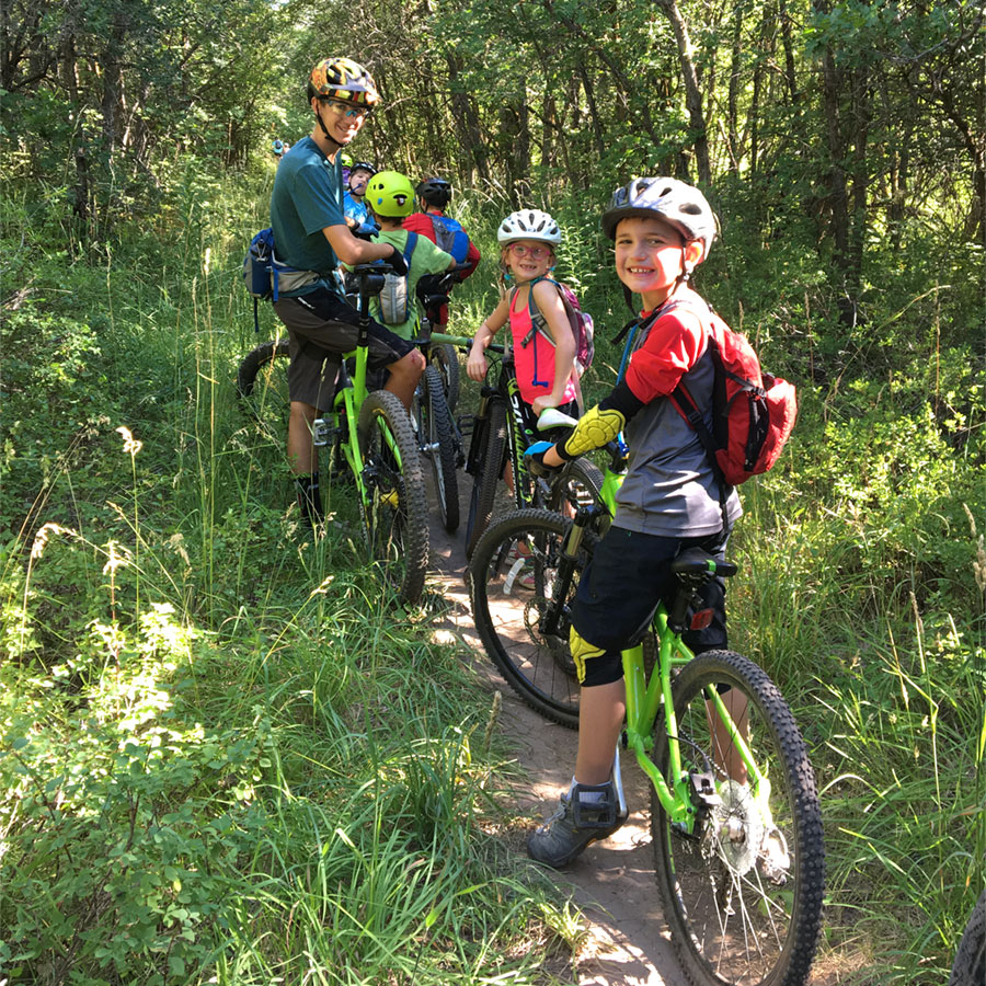 Mountain biking with kids on single track!