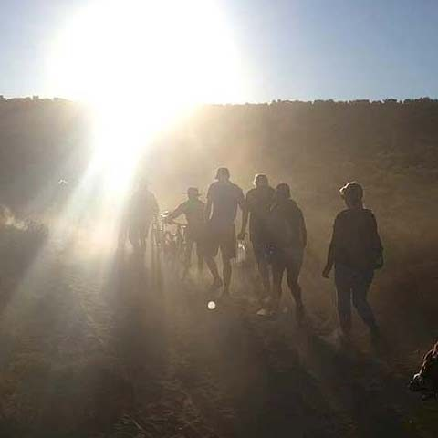 A group of spectators heads out to the Red Bull Rampage
