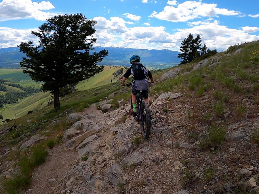 Tyge descending Josie's Ridge in Jackson, Wy