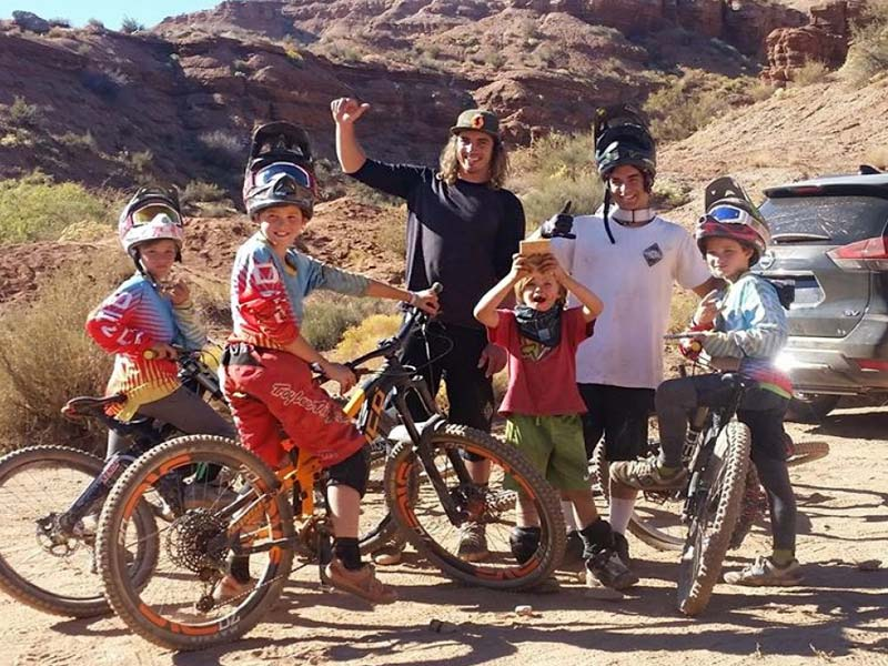 Nico Vink hanging out with freeride mountain biking kids