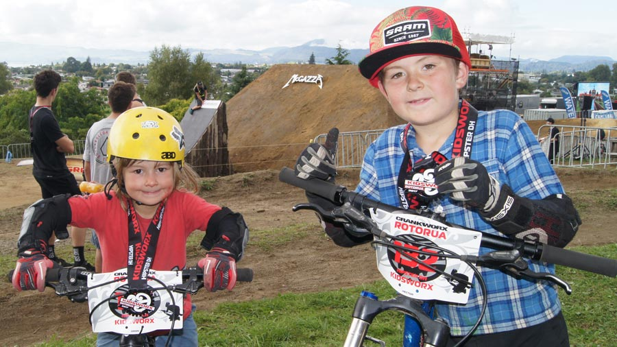 Kids racing at Crankworx Rotorua 2017