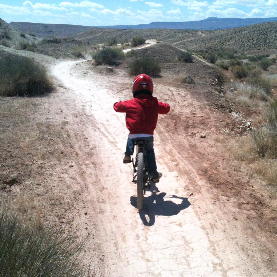 Mountain biking with kids in the desert