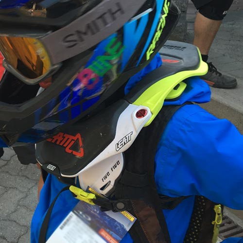 Close up (sorta) of the the Leatt 5.5 DBX Junior neck brace
