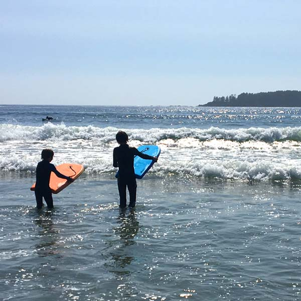 Boogie boarding at Tofino
