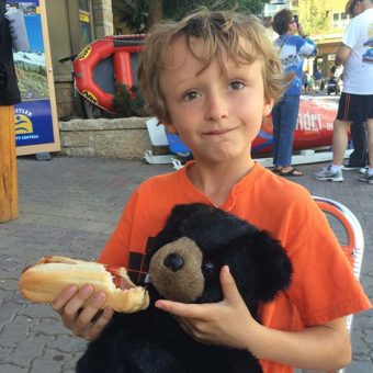 Fake bear and hot dog