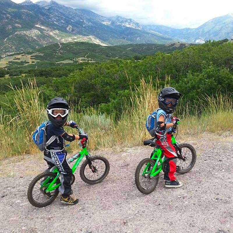 The Mallen twins on small kids mountain bikes