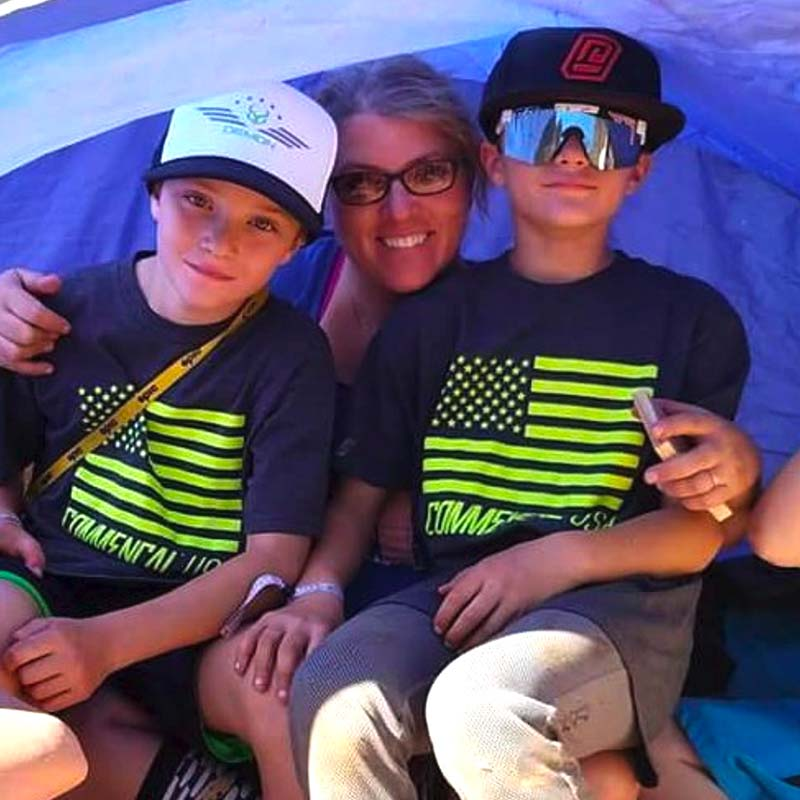 Liz and her boys at Red Bull Rampage