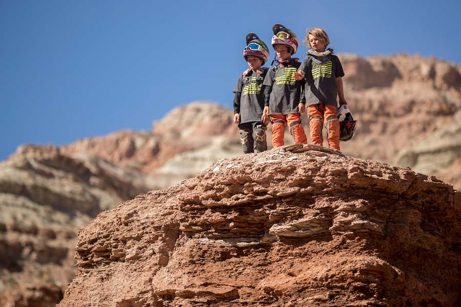 Three young mountain bikers near Virgin, Utah.