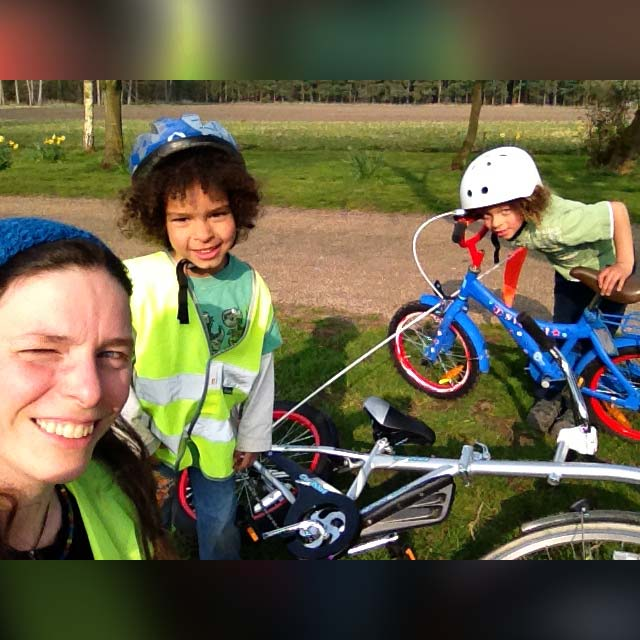 Ina and her two mountain biking boys