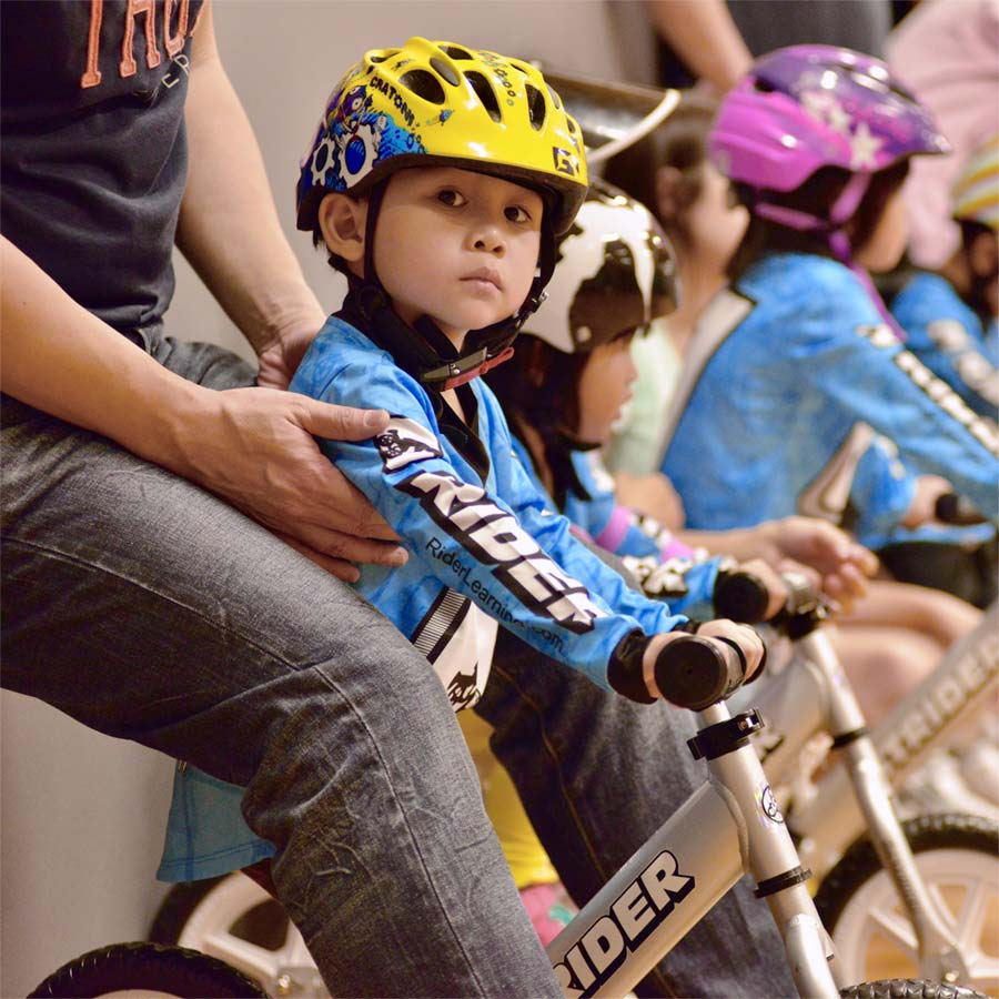 Participating in a strider bike class in Hong Kong