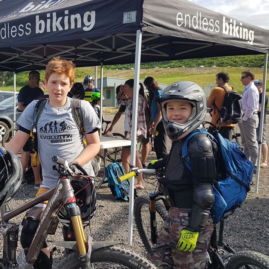 Brothers attend a mountain biking event