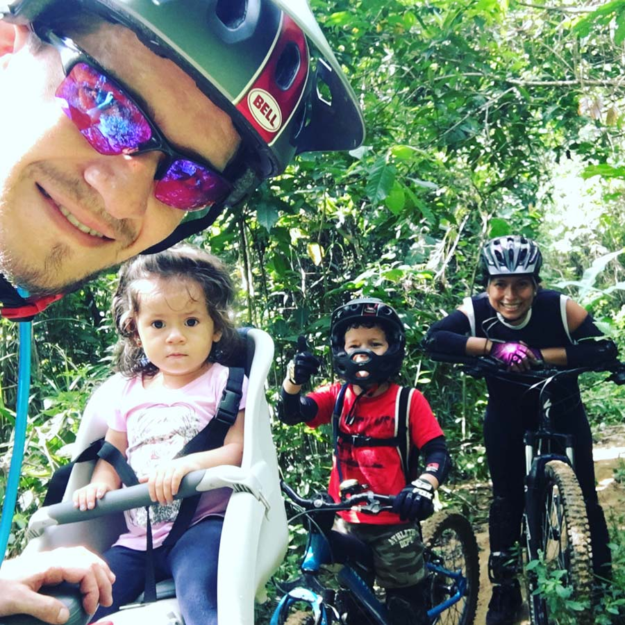A mountain biking family