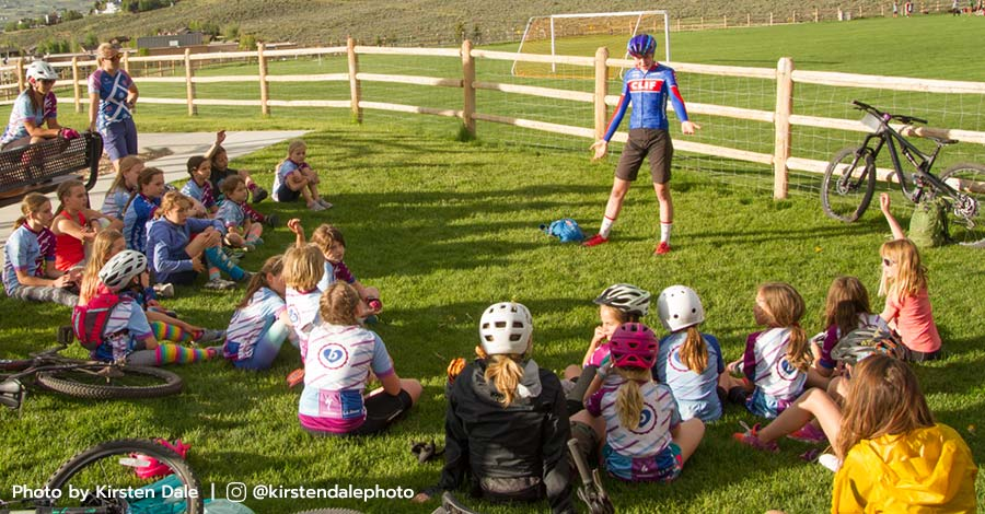 Pro mountain biker Haley Batten speaks to a group of young ladies at a Little Bellas clinic in Park City, Utah.