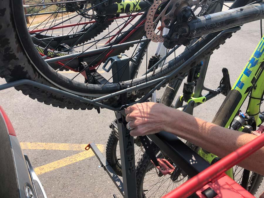 Fastening the top wheel on the Alta Racks bike rack