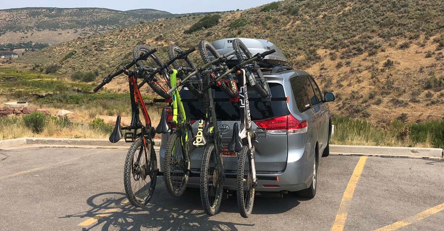 The Alta Six GRP bike rack all loaded and ready to go