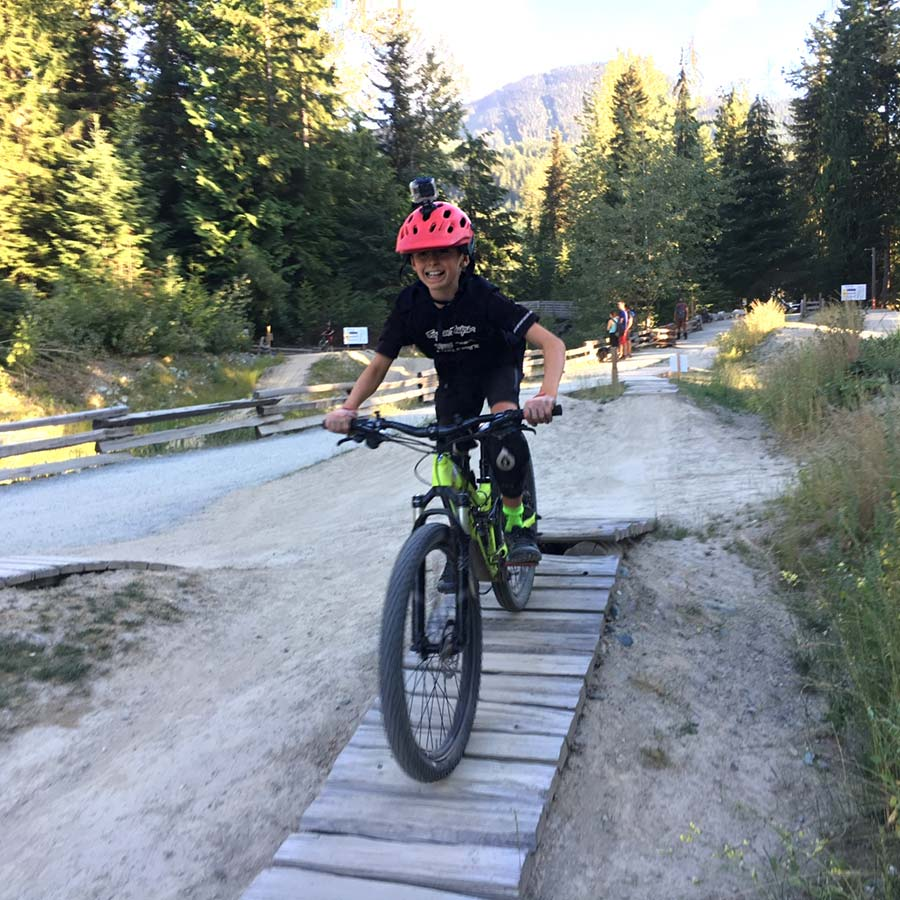 Beginner section of the Fitzsimmon's Creek Skills Park at Whistler