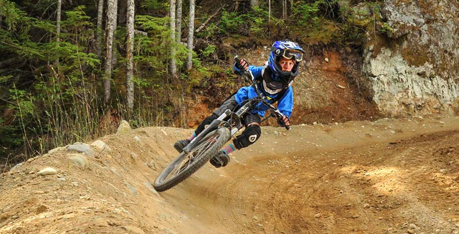 Kid riding EZ Does It in the Whistler Bike Park