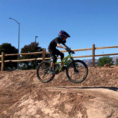 Mountain biker at the Snake Hollow Bike Park in St. George, Utah