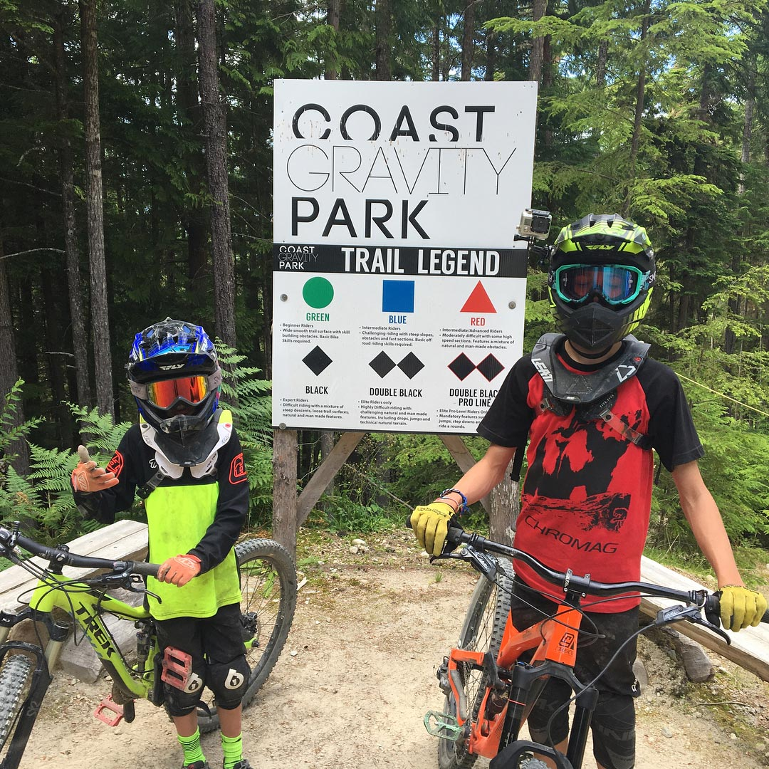 Coast Gravity Park trail legend sign