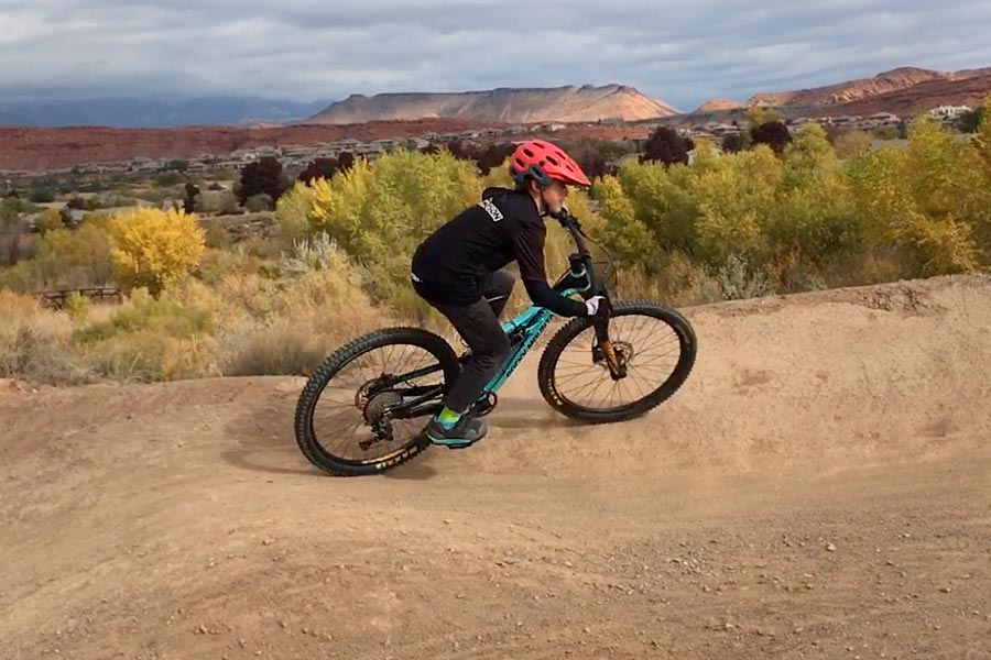 Taking a corner on the Rocky Mountain Reaper