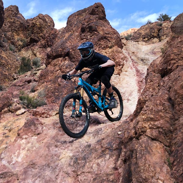 Riding the hourglass on a full-suspension enduro bike at Bootleg Canyon