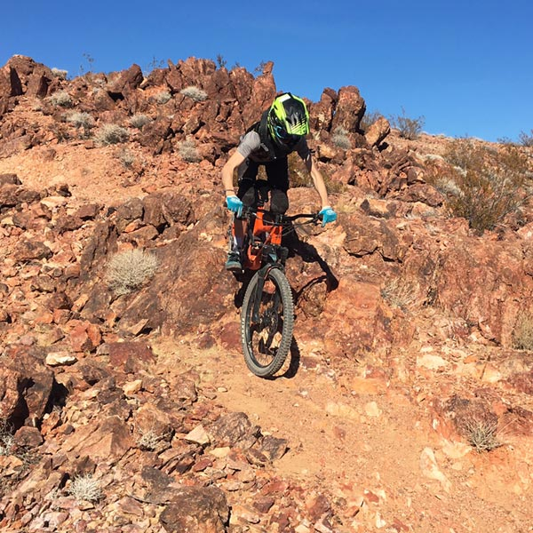 Riding downhill mtb trail at Bootleg Canyon