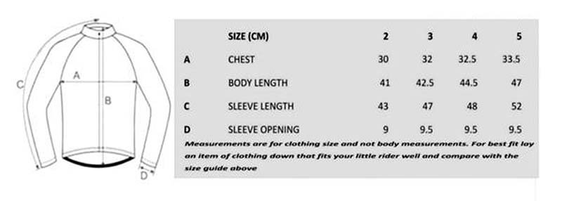 Little Rider Co jersey size guide