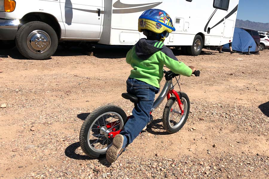 Powering along the dirt on the LittleBig Balance Bike