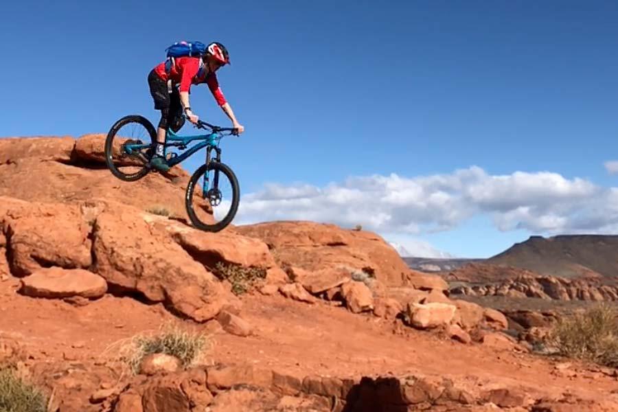 Kid mountain biker