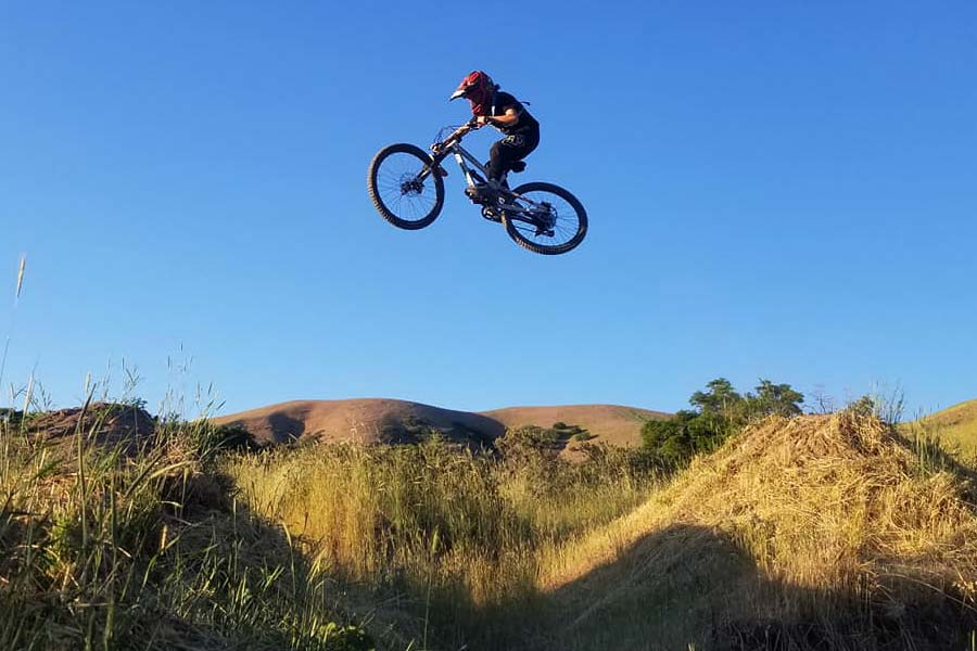 Getting air with the Commencal Clash Jr.