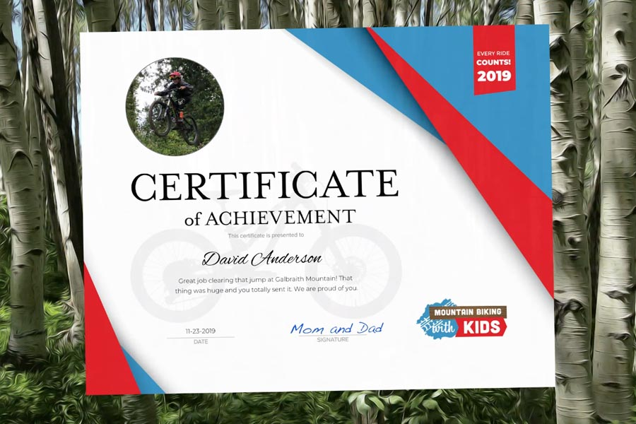 Achievement Certificate - Mountain Bike Award for Kids