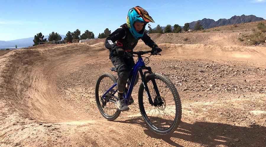 Riding the Trailcraft Timber 26 at the pump track