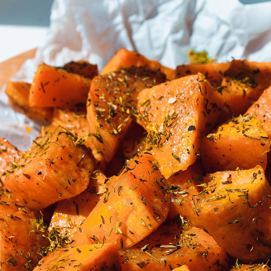 Roasted sweet potatoes have less carbs and starch than russet potatoes