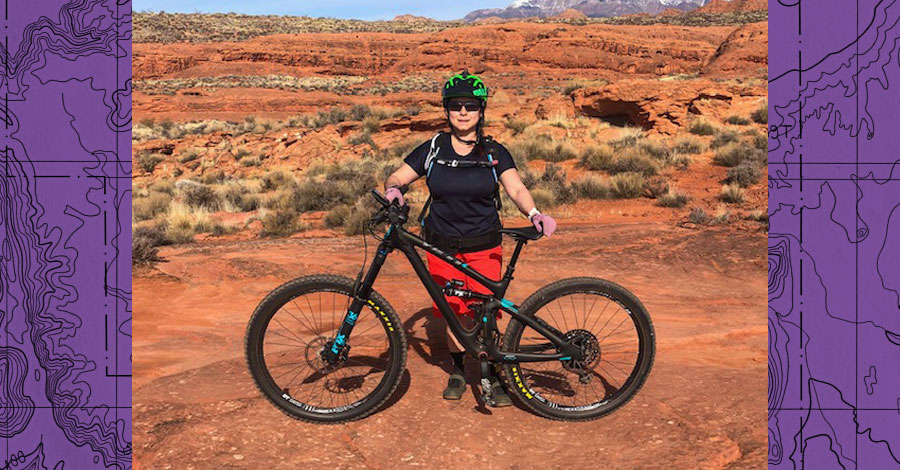 Carmen Granados and her Yeti mountain bike