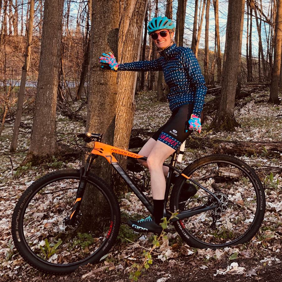 Kasey Wierzba takes a break on her Norco Revolver