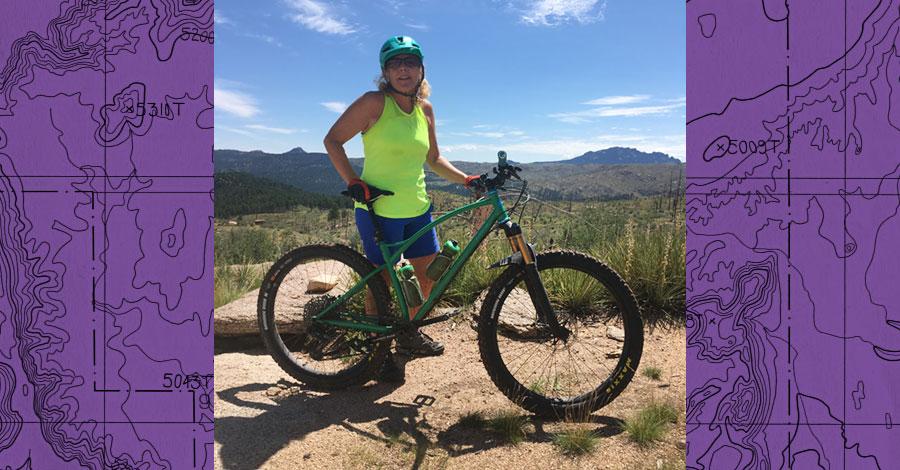 Lisa Sklar and her Sklar mountain bike