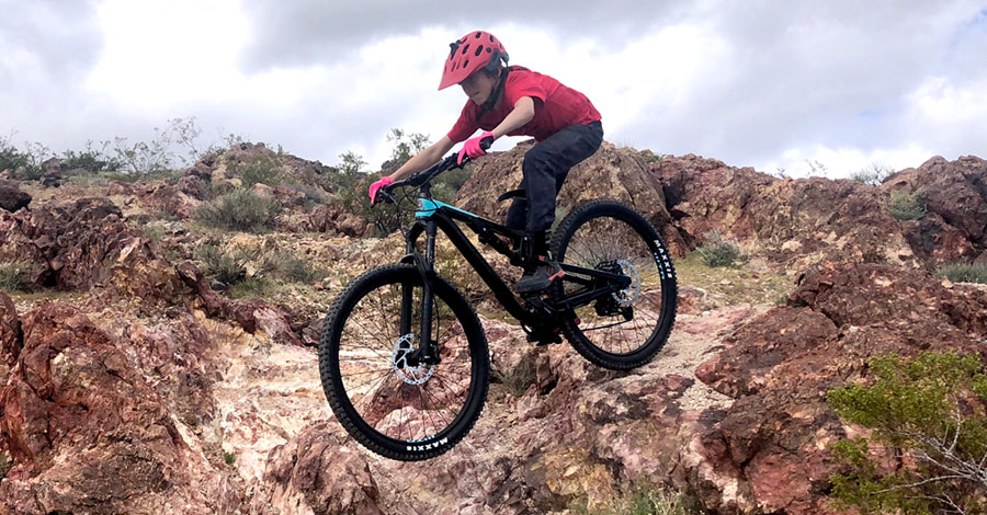 Riding technical terrain on the Rocky Mountain Reaper 27.5