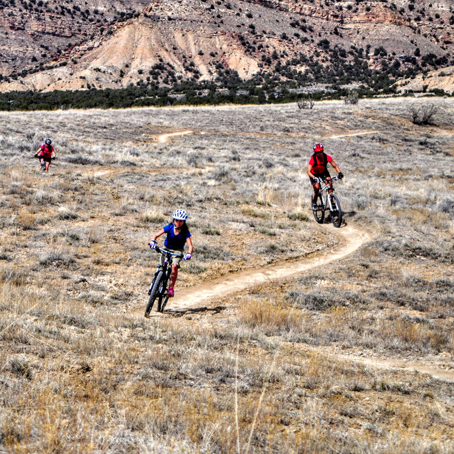 Ruth Roeber mountain biking with her family