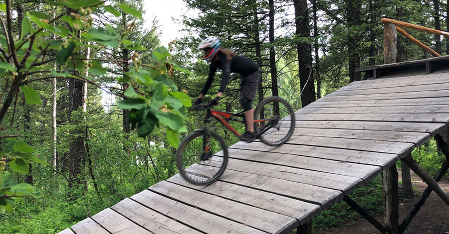 Jackson Hole mountain bike park - ramp roll